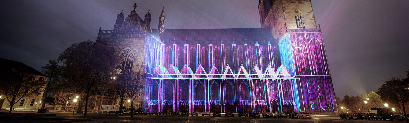 Magdeburg in Light - Beamer Festival 2020 - Projection on Magdeburg Cathedral North side